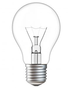 An incandescent bulb on a white background