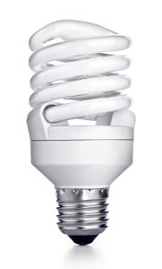 a CFL bulb on a white background