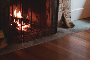 Wood burning fire place inside home.